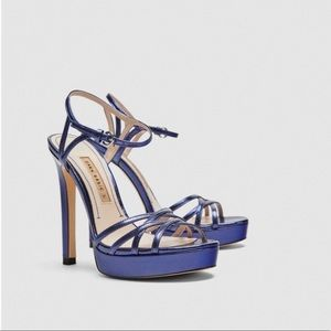 Zara Metallic Blue/Purple Platform Sandals